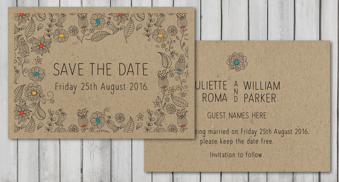 Natural Save The Date On Brown Stock