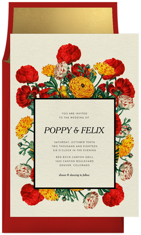 Wedding invitation with wildflowers for Poppy and Felix