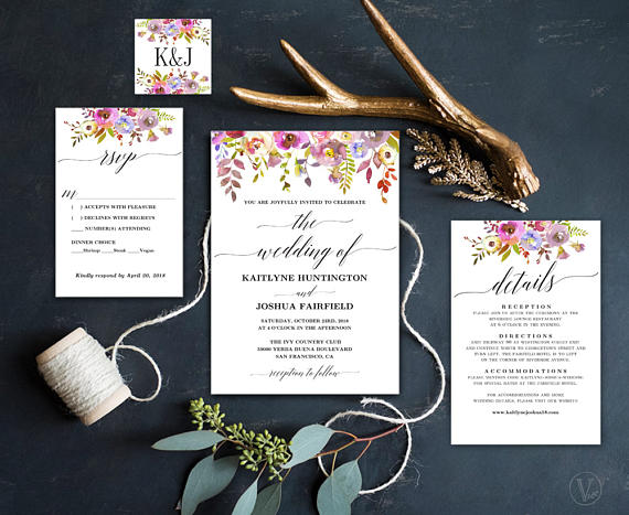 Rustic Summer Floral Invitations