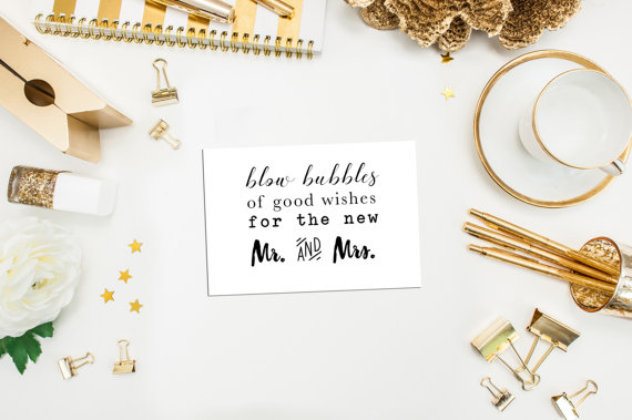 "Card ""blow bubbles of good wishes for the new mr. and mrs."