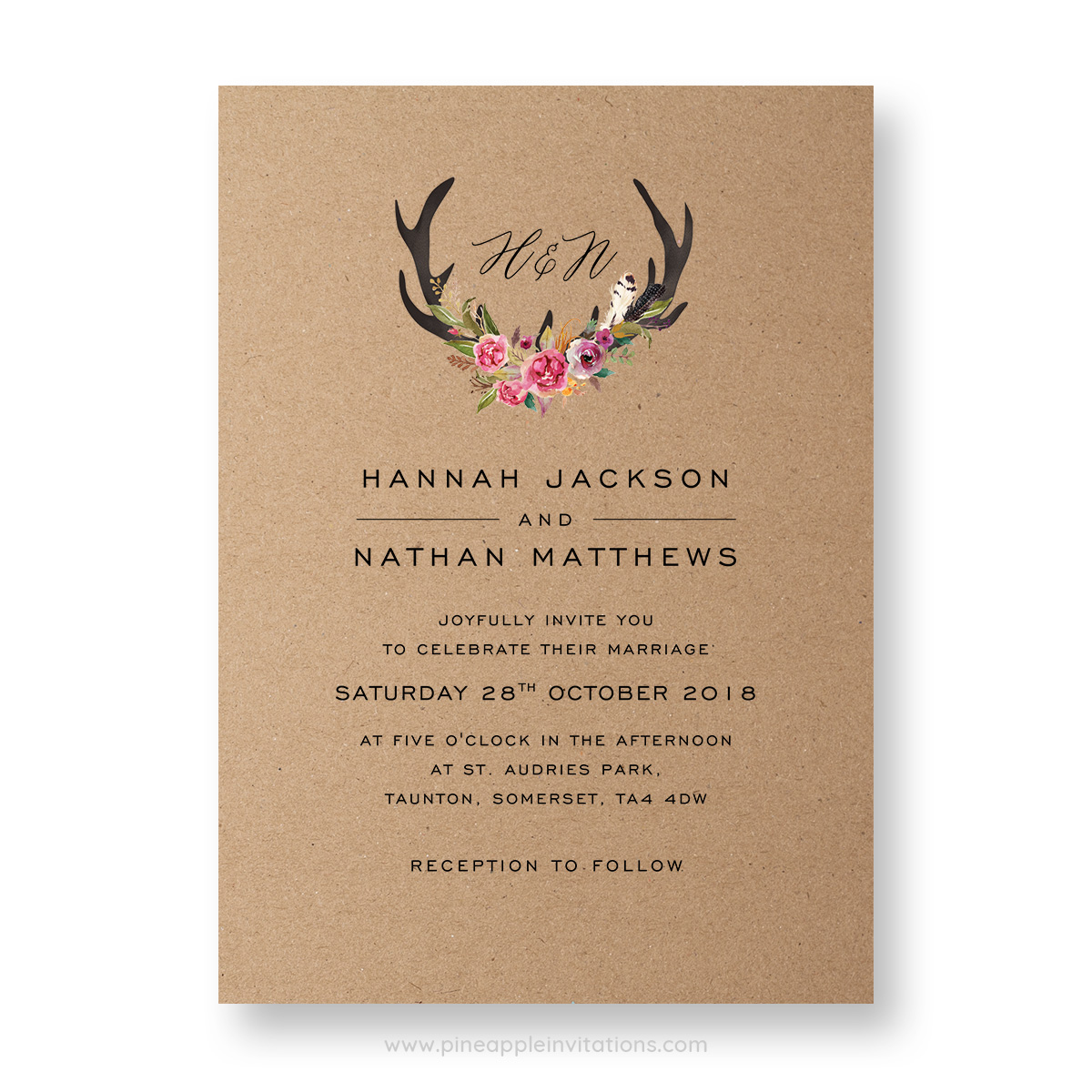 Whimsical antler wedding invitation