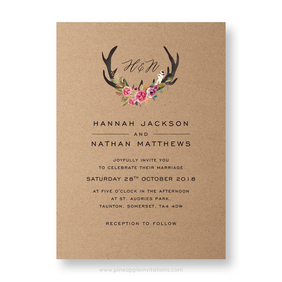 Whimsical antler wedding invitation