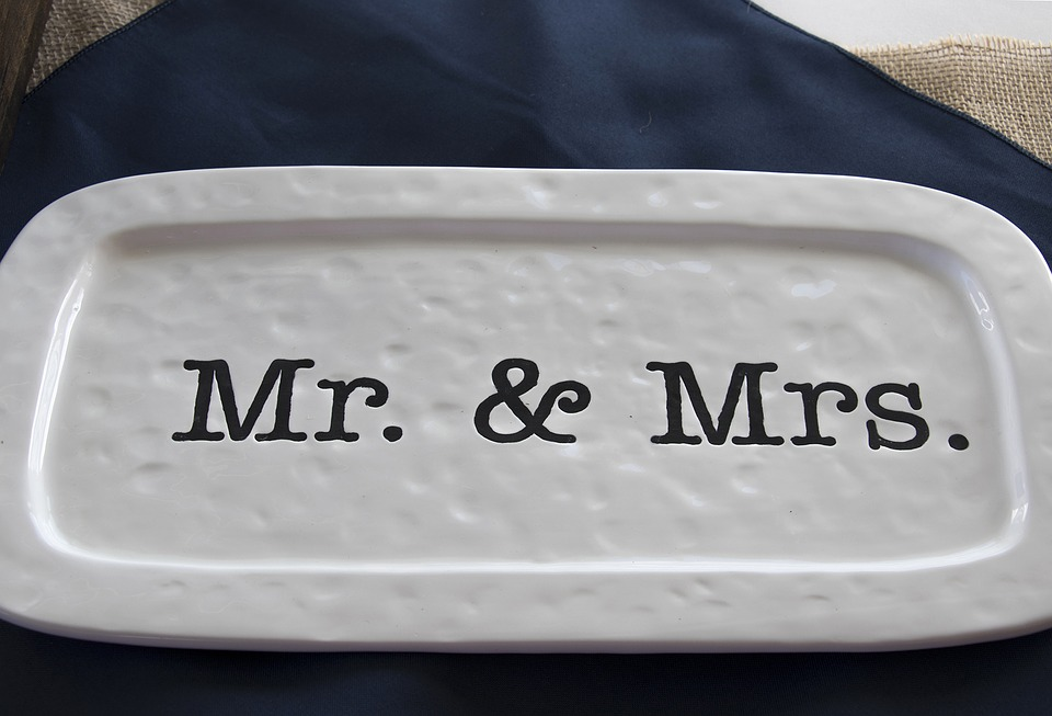 Plate with Mr. & Mrs. stamped