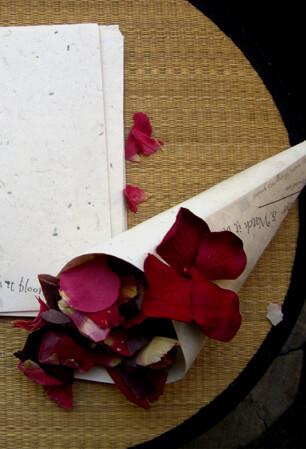 Rose petals in a cone