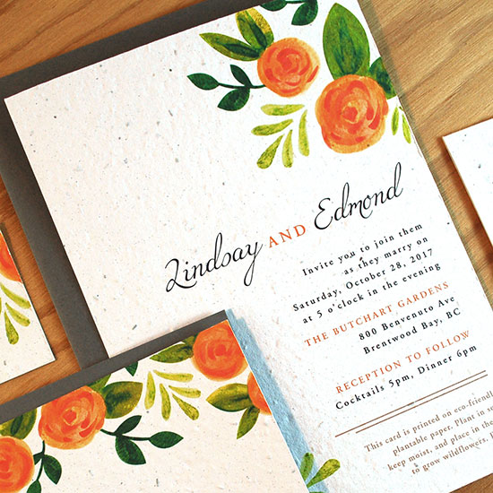 Wedding invitation with flowers on seeded paper for Lindsey and Edward