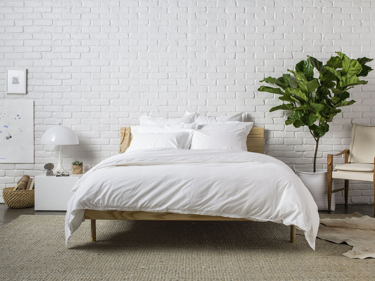 bed with white bedding