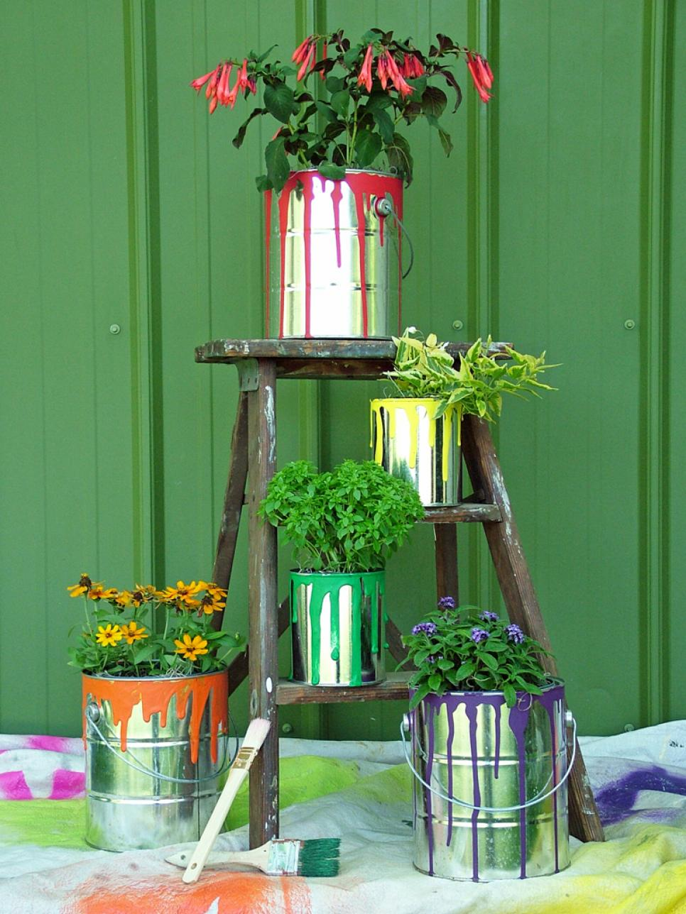 Paint cans with flowers