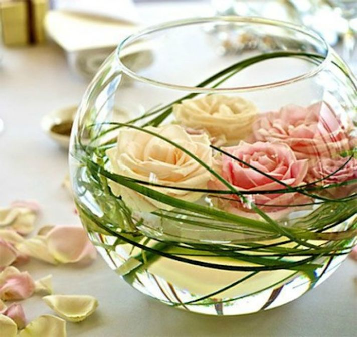 Flowers in a fishbowl