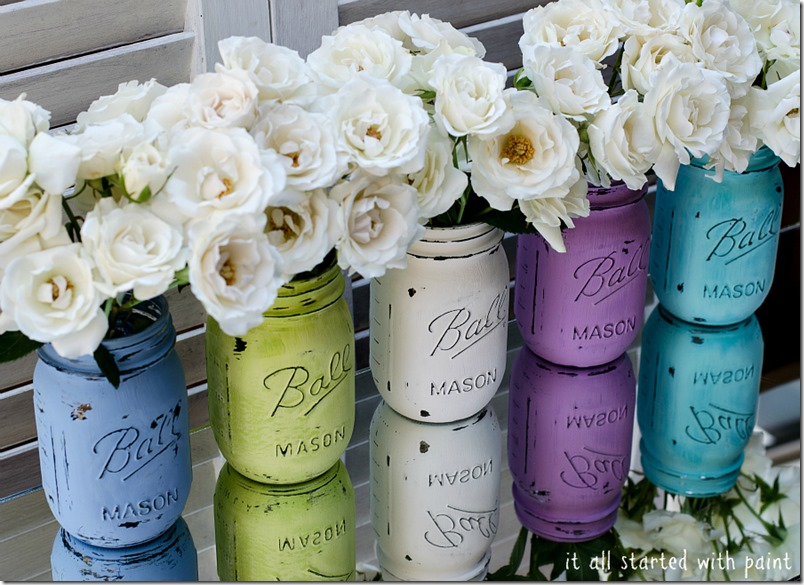 Painted mason jars with flowers