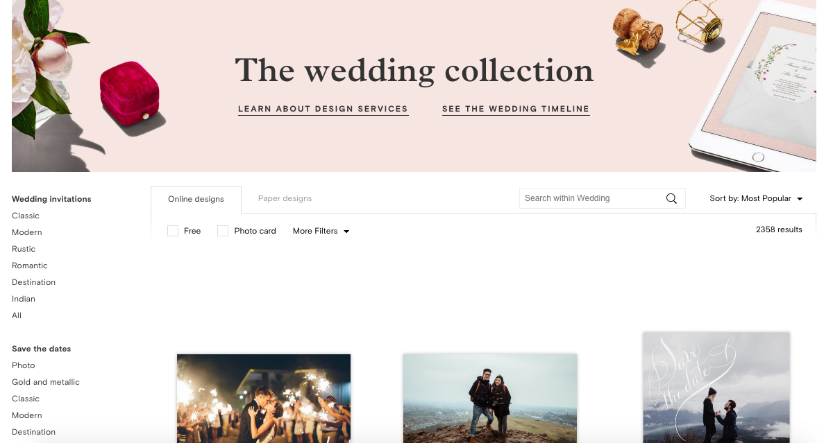 Wedding website screenshot