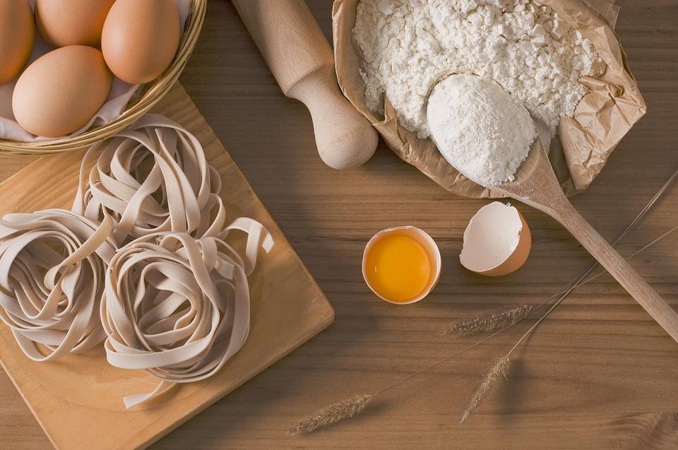 Pasta, eggs, flour