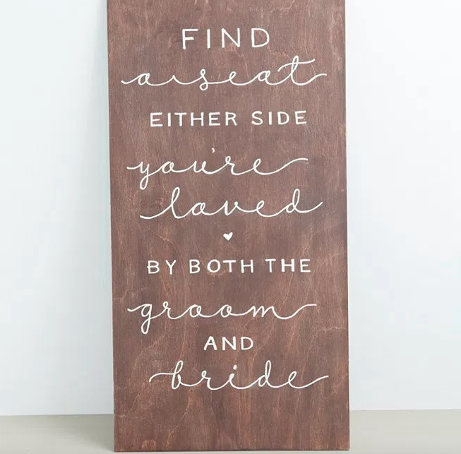 Wooden board with writing