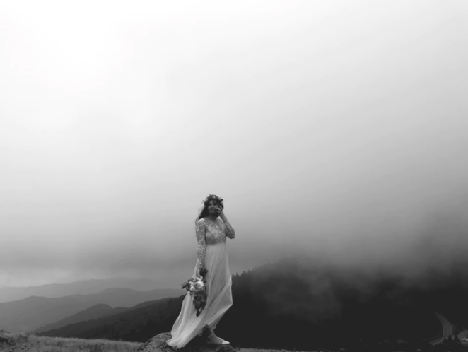 Bride in fog