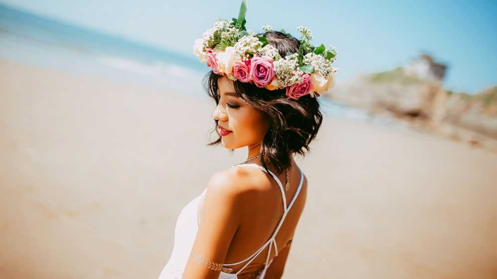 Bride with Floral Crown on Beach