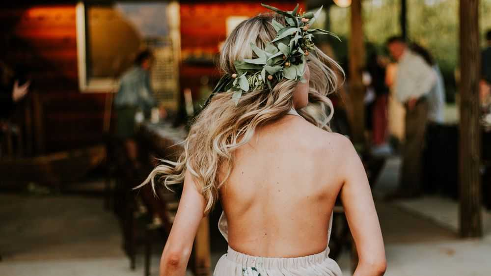 blond girl with head wreath