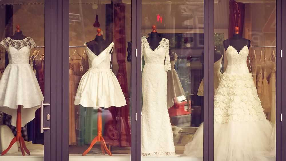wedding dresses in the shop window