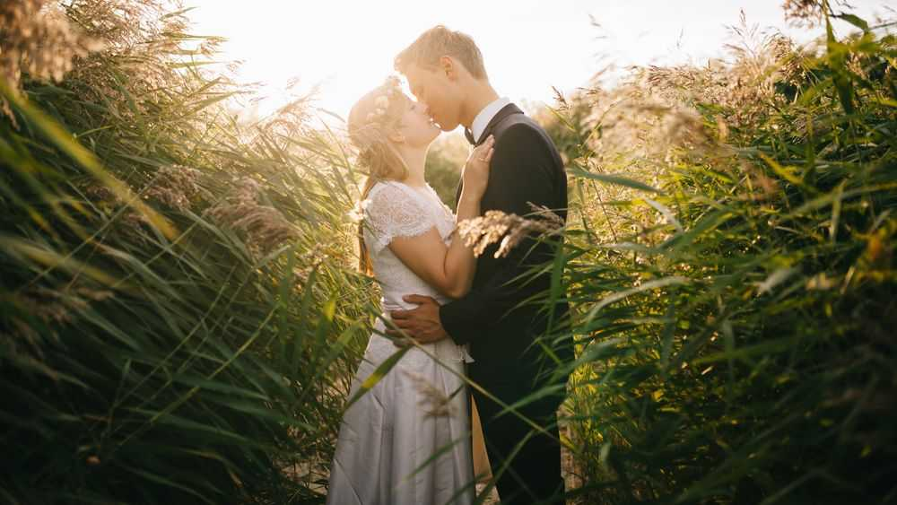 bride groom in high grass