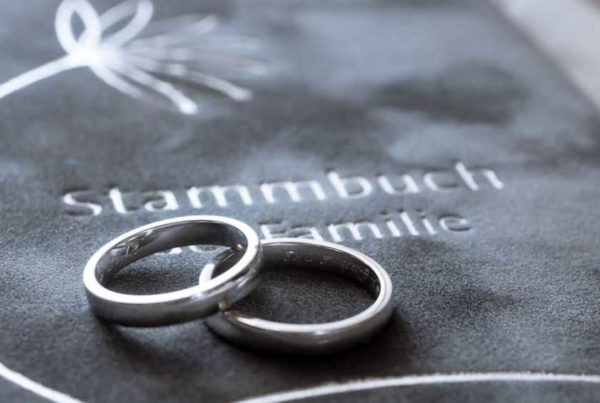 wedding rings on velvet book