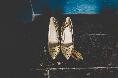 Gold and Leafy Heels