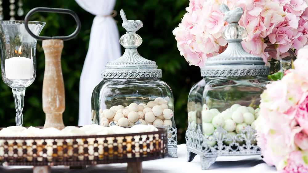 Jordan Almonds in Jars on Wedding Table