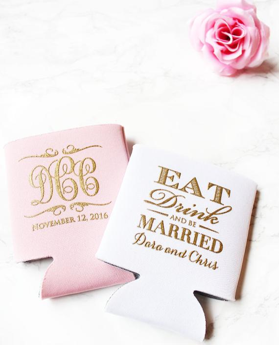 pink and white wedding koozies