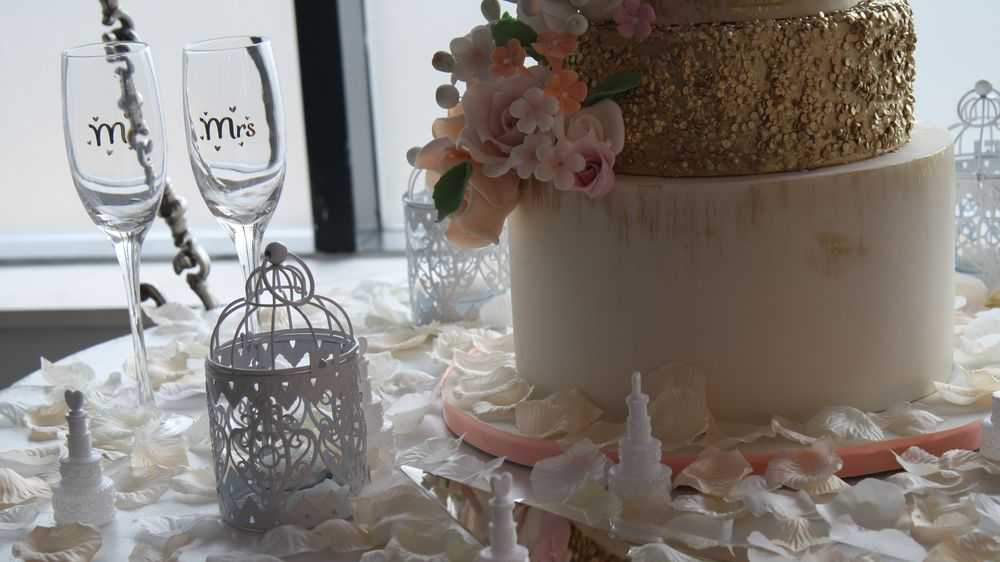 White Cake On A Decorated Table