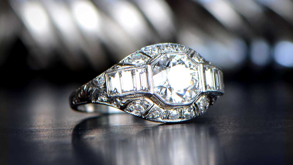 Antique Diamond Ring With Bokeh in BG