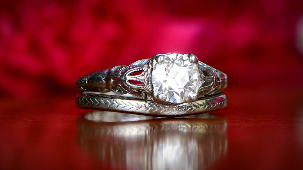 Antique Engagement Ring With Wedding Band