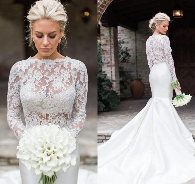 blond bride dhg mermaid long sleeve dress