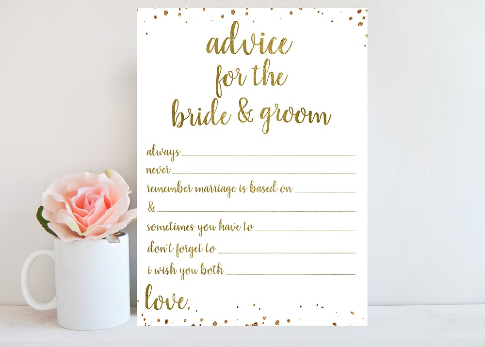 bridal shower advice card