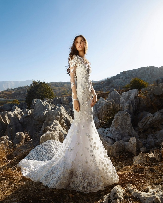 brunette in Kleinfeld mermaid long sleeve dress