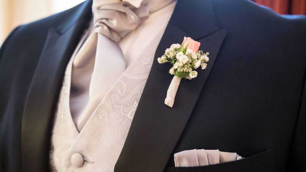 men's suit with corsage