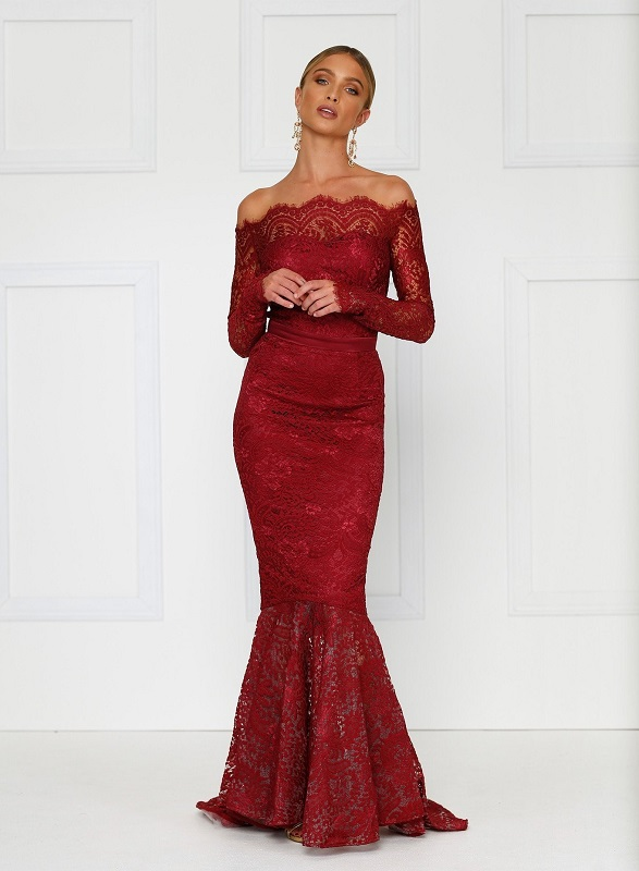 red lace Alamour mermaid long sleeve dress