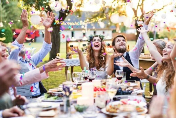 wedding table outdoor celebrating confetti