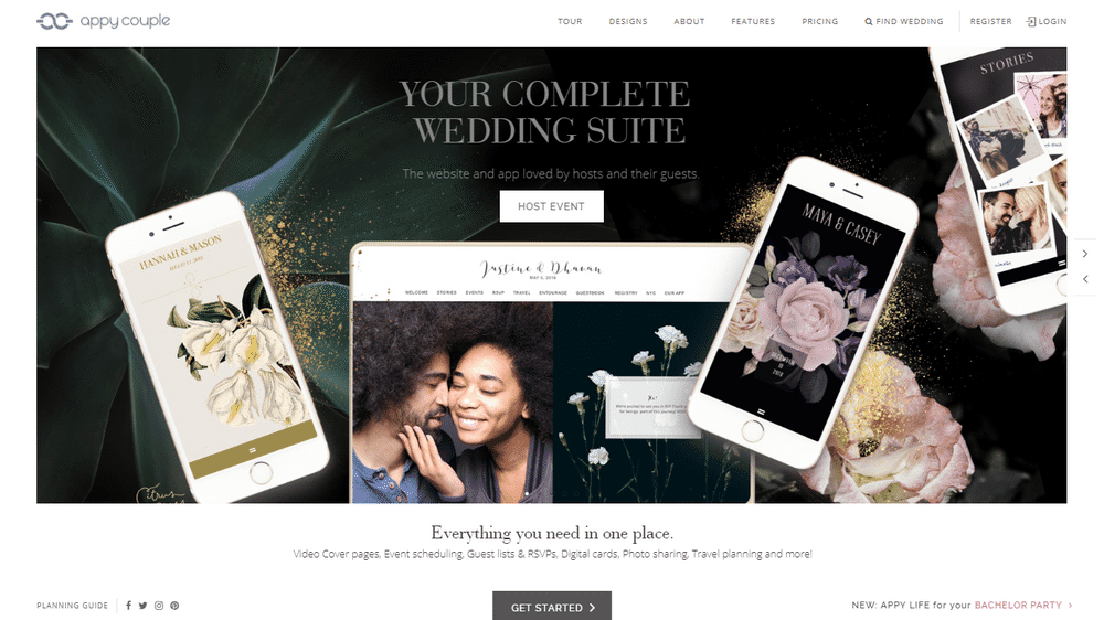 wedding website appy screenshot