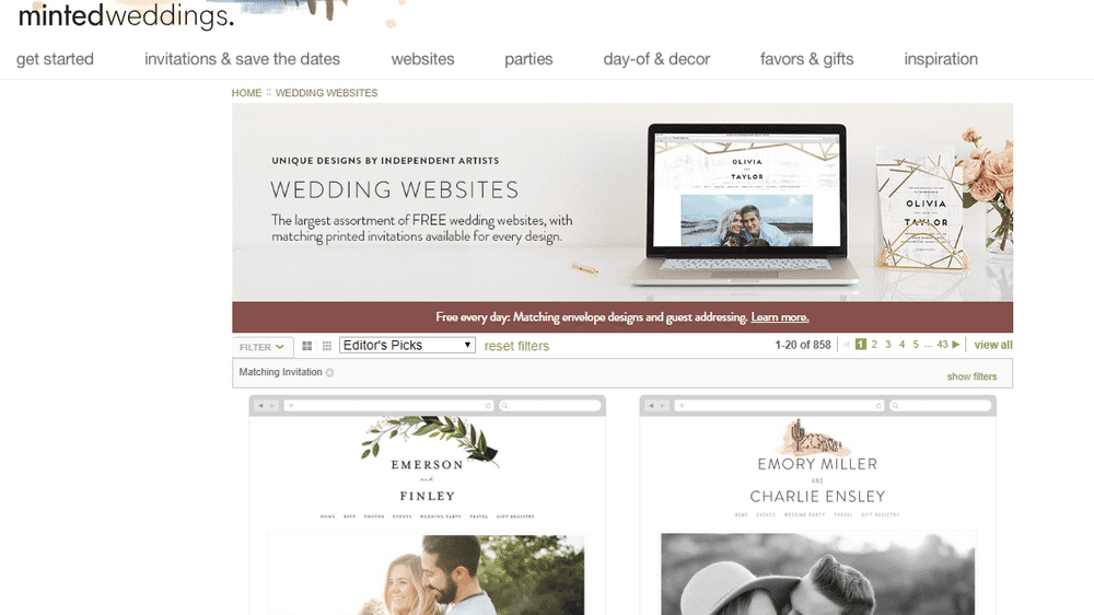 wedding website minted screenshot