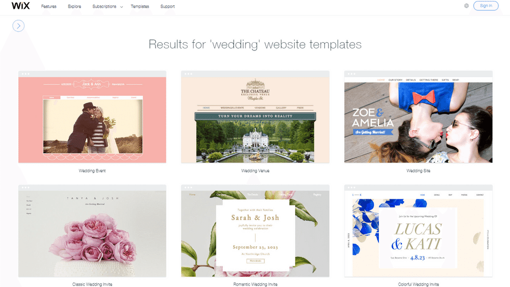 wedding website wix screenshot