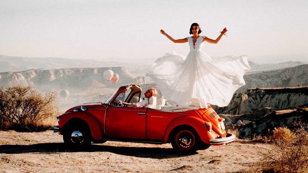 Escorting bride in car