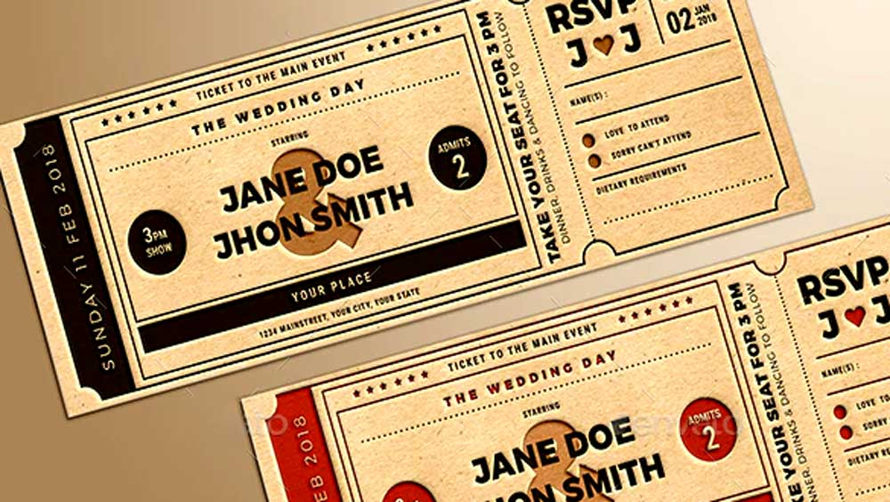 Wedding Invitation Movie Stubs