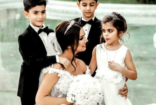 Kids at Wedding with Bride and Pool